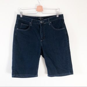 Riders mid rise Bermuda dark wash shorts 8A